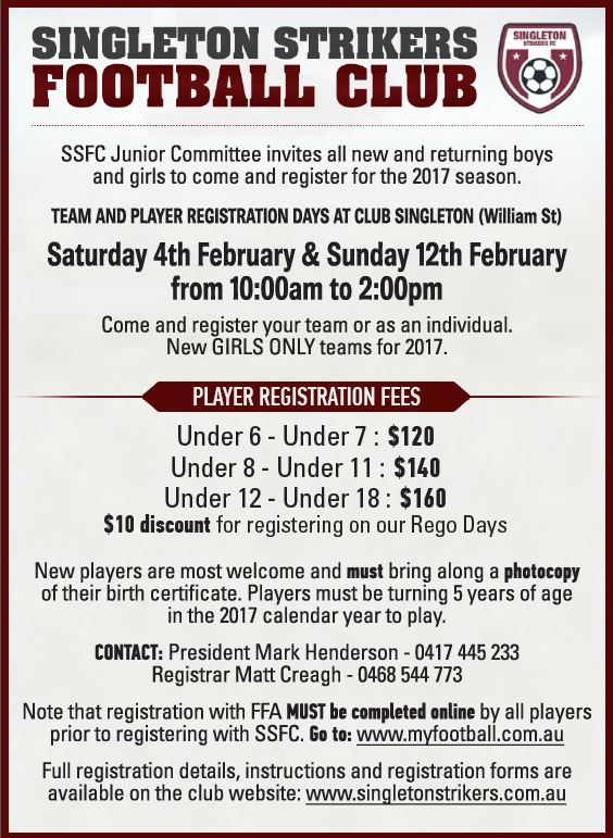 Registration Days for Junior Players for 2017