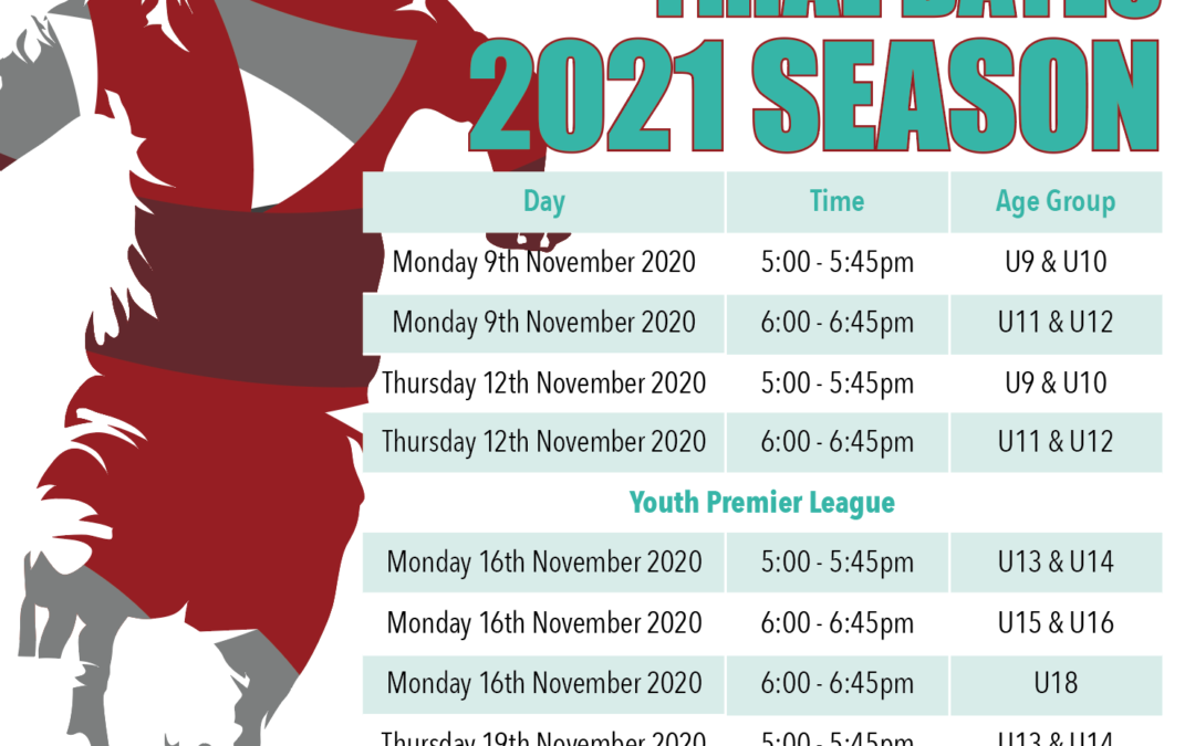 Trial Dates for 2021 Season Announced